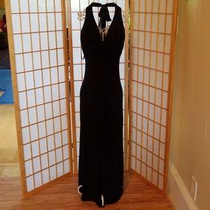 Alyn Paige Formal Black Long Halter Dress